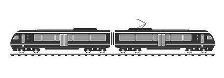 Silhouette of electric train Royalty Free Stock Photography