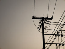 Silhouette electric wire. Back ground Royalty Free Stock Photo