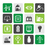 Silhouette electricity, power and energy icons. Vector icon set Stock Photo