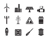 Silhouette Electricity and power icons Royalty Free Stock Photos