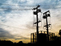 Silhouette Electricity Substation and High Voltage Pole Stock Photos