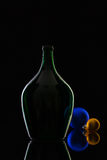 Silhouette of elegant and very old wine bottles and Christmas dec Royalty Free Stock Photos