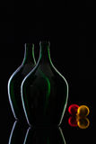 Silhouette of elegant and very old wine bottles and Christmas dec Royalty Free Stock Images