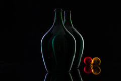 Silhouette of elegant and very old wine bottles Royalty Free Stock Image