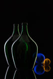 Silhouette of elegant and very old wine bottlesand Christmas dec Stock Image