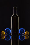 Silhouette of elegant wine bottles and Christmas decoration Royalty Free Stock Photos