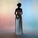 Silhouette elegant woman on colors background Stock Images
