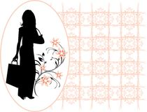 Silhouette elegant woman in the decorative frame Royalty Free Stock Photography