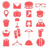 Silhouette elements of travel and trip icons Stock Photos