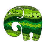 Silhouette of an elephant filled with African national patterns. Vector illustration Royalty Free Stock Photo