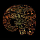 Silhouette of an elephant filled with African national patterns. Vector illustration royalty free illustration