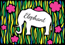 Silhouette of an elephant in jungle. Vector silhouette of an elephant on an abstract jungle background. Can be used as a frame for your text Royalty Free Stock Photo