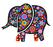 Silhouette of elephant with naive style colorful flowers Stock Image