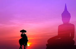 Silhouette elephant with tourist with big buddha background at s Stock Images