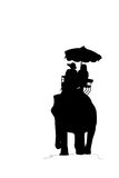 Silhouette elephant and tourist on white background Stock Images