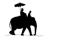silhouette elephant and tourist on white background Royalty Free Stock Image