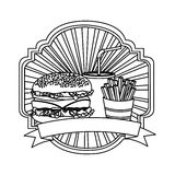 silhouette emblem with hamburger, soda and fries french and ribbon Royalty Free Stock Photography