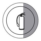 Silhouette emblem sticker extinguisher icon Stock Photos