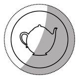 silhouette emblem teapot icon Stock Images