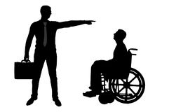Silhouette  Employer refuses the disabled person in a wheelchair to employ him for work. The concept of discrimination and inequality for people with Stock Images