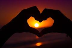 Mains en forme de coeur Photographie stock libre de droits