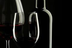 Silhouette en verre de vin rouge Photographie stock libre de droits