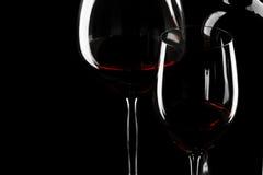 Silhouette en verre de vin rouge Images libres de droits