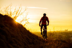 Silhouette of Enduro Cyclist Riding the Mountain Bike on the Rocky Trail at Sunset. Active Lifestyle Concept. Space for Text. Stock Photos