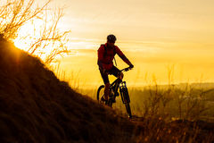 Silhouette of Enduro Cyclist Riding the Mountain Bike on the Rocky Trail at Sunset. Active Lifestyle Concept. Space for Text. Royalty Free Stock Photography