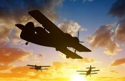 Silhouette engine airplane Stock Photos