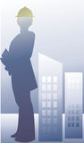 Silhouette of an engineer  Stock Images