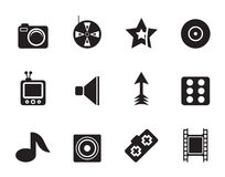 Silhouette Entertainment Icons Stock Photography