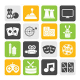 Silhouette entertainment objects icons Stock Image