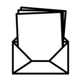 Silhouette envelope opened with multiple sheets Royalty Free Stock Images