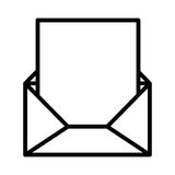 Silhouette envelope opened with sheet Royalty Free Stock Image