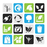 Silhouette Environment and Conservation icons Royalty Free Stock Photography