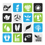 Silhouette environment and nature icons Stock Image