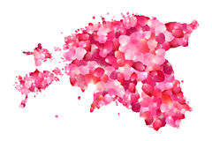 Silhouette of Estonia map of rose petals Royalty Free Stock Photography