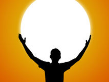 Silhouette et coucher du soleil Photos libres de droits