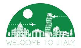 Silhouette et dôme célèbres supérieurs de point de repère de l'Italie avec la couleur verte s illustration de vecteur