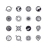 Silhouette et ligne noires icônes des planètes et de la terre Logos de vecteur Image libre de droits