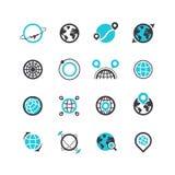 Silhouette et ligne noires icônes des planètes et du système de localisation mondial Voies et itinéraires Logos de vecteur Photo libre de droits