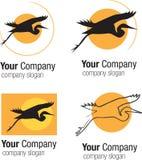 Silhouette et soleil d'oiseau de logo Photographie stock