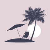 Silhouette the evening beach in tropics. Royalty Free Stock Images