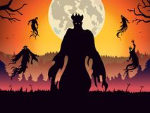 Silhouette of evil spirit flying on forest at full moon night. Illustration about Halloween theme and fantasy Royalty Free Stock Photography
