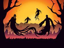 Silhouette of evil spirit flying on forest. Royalty Free Stock Images