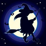 Silhouette Witch Moon Royalty Free Stock Photography