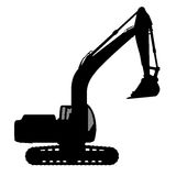 Silhouette the excavate. The silhouette of the excavate on a white background Stock Photos