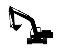 Silhouette the excavate. The silhouette of the excavate on a white background Royalty Free Stock Images