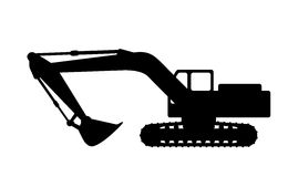 Silhouette the excavate. The silhouette of the excavate on a white background Stock Image